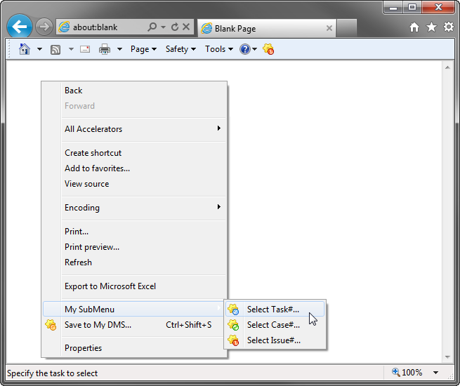 Add an item to a context menu of Internet Explorer