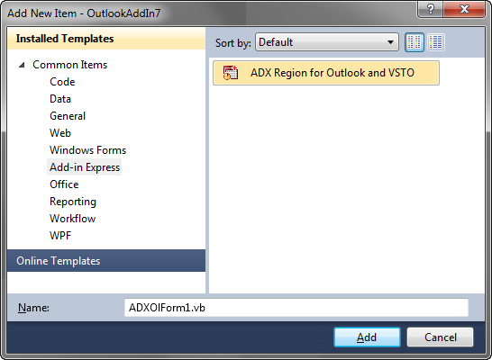 Integrating Outlook Regions into your VSTO project
