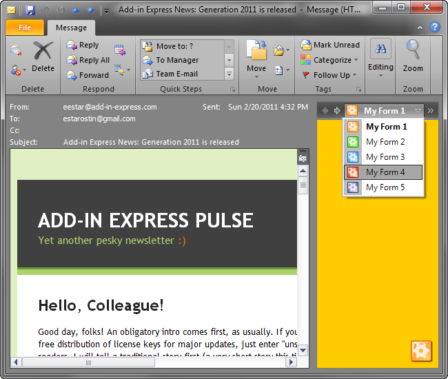 Advanced Outlook regions: dock, minimize, hide, resize and share: VB