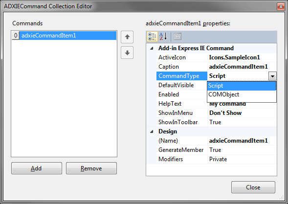 Designer of the IE Commands collection