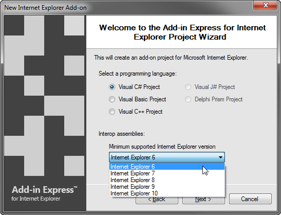 Project Wizard to create add-ons for IE6 - IE11