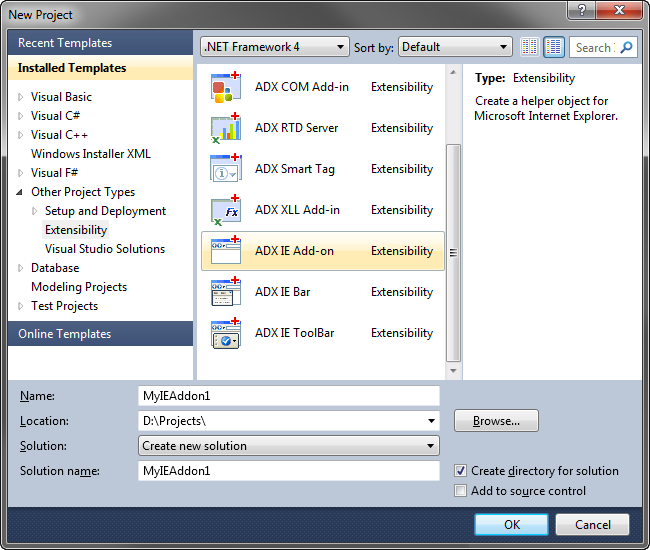 Create Internet Explorer add-on, IE toolbar, context menu: C#, VB