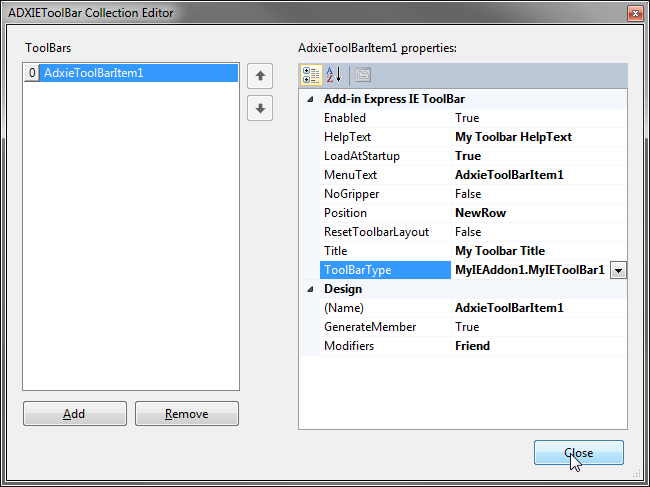 Binding the IE toolbar to the add-on