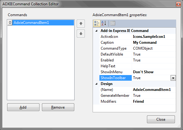 Creating a custom IE command