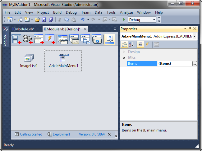 Adding the Main Menu component to the IE addon module