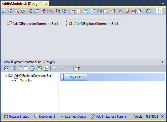 Creating a custom toolbar for Outlook 2000 - 2007 using a visual designer
