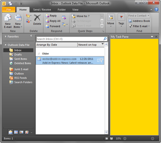 A custom Office task pane in Outlook 2010