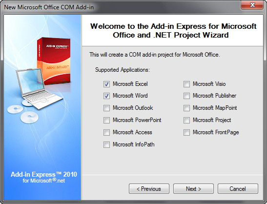 Selecting Microsoft Excel and Word as supported applications