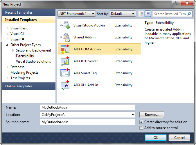 Programming outlook add in plugin in c vb net for Word 2010 templates and add ins