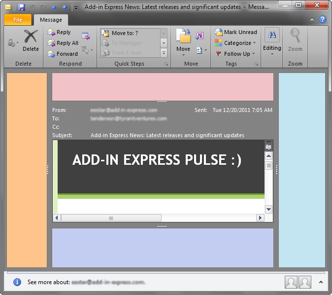 Advanced Outlook view regions embedded into the Inspector Window