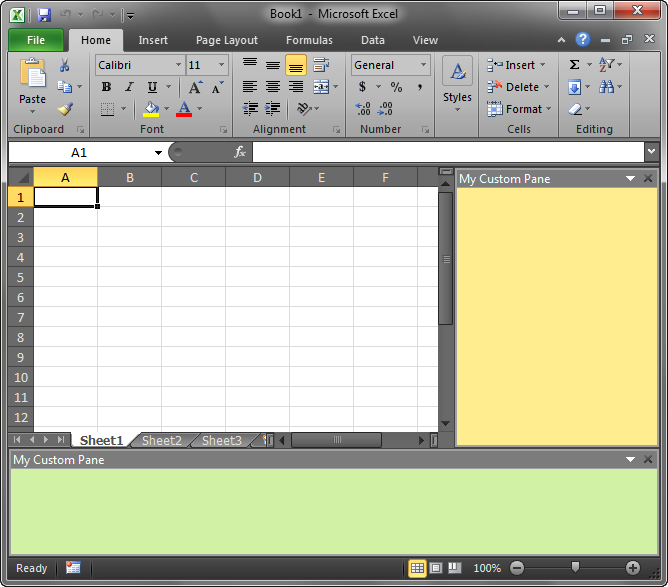 Two custom Office task panes in Excel 2010