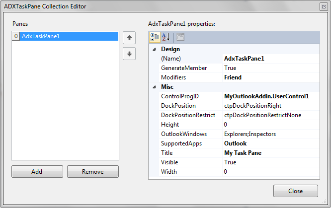 Designing a custom Office task pane with Add-in Express