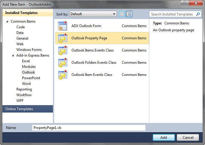 Creating a new Outlook Property page in Visual Studio