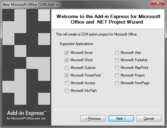 Select the Office applications supported by your add-in