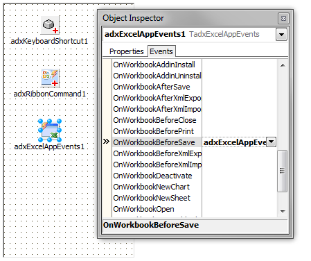 The Add-in Express components to intercept Excel events