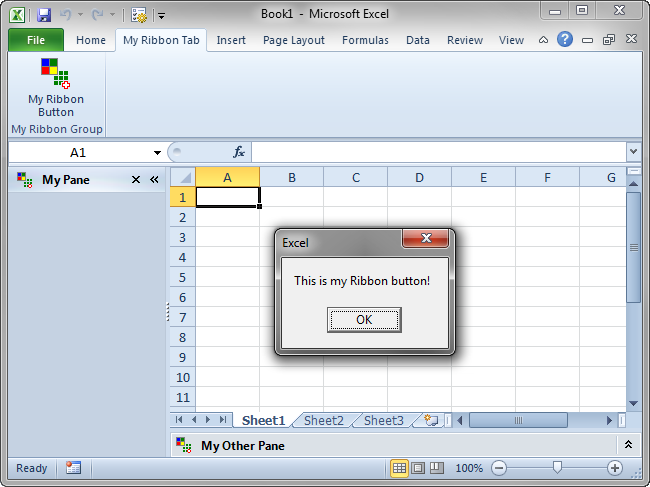 A custom ribbon button in Excel 2010