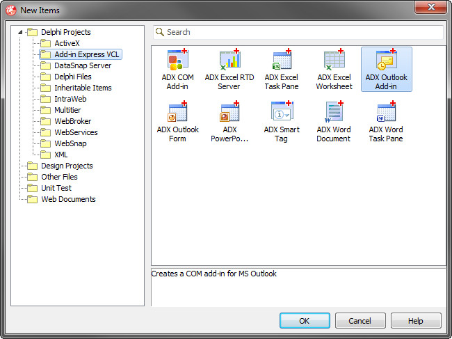 Creating an Outlook  COM add-in project with the Add-in Express wizard