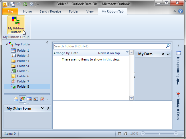 Custom Outlook 2010 UI: ribbon tab with a button