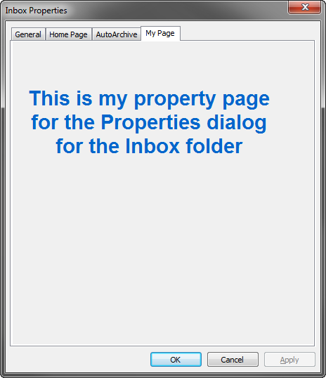 Custom Outlook Inbox property page