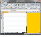 Sample version-neutral task panes in Excel 2007 (minimized on the left, hidden at the top and normal on the right)