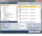 Add-in Express adds four basic solution templates to the New Project dialog box