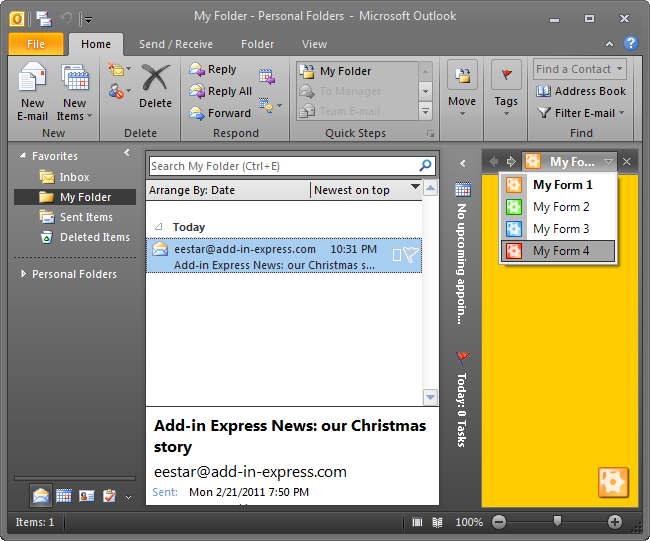 Custom Outlook view region embedded into the right part of the Explorer window