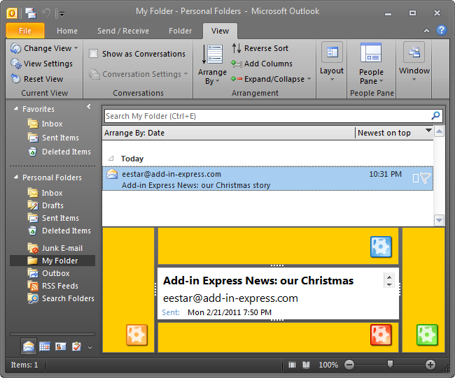 Custom view region for a selected folder in Outlook 2010
