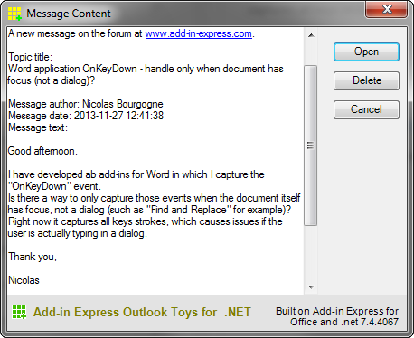 Outlook message content
