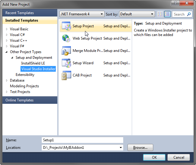 How To Deploy IE Add-on: Create Setup Project For MSI Installer: C#, VB.NET