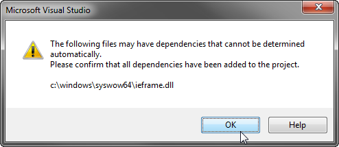 Please confirm that all dependencies have been added dialog