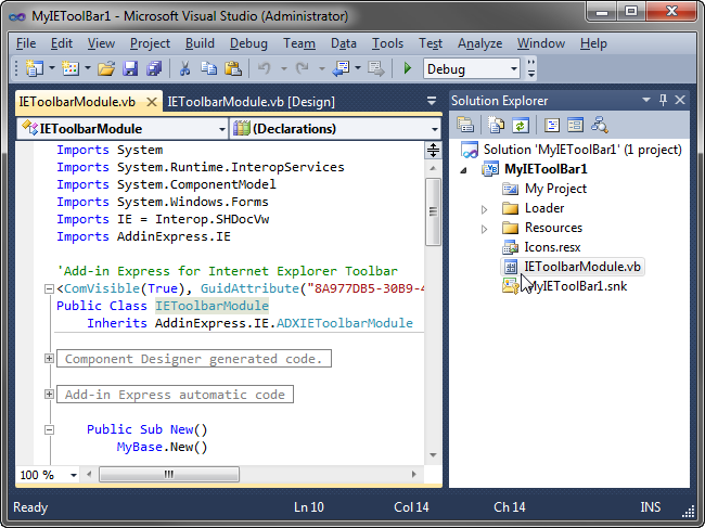 IE toolbar solution in Visual Studio