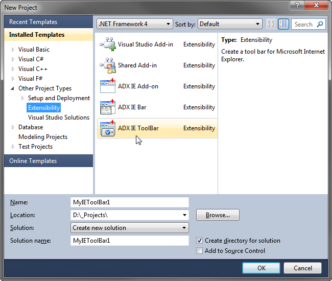 Inter  Explorer Toolbars on visual studio express