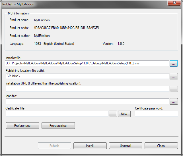 Publishing dialog - installer file and publishing location