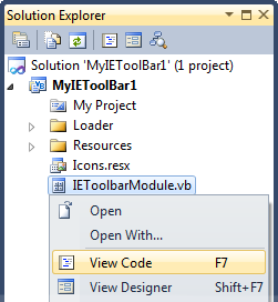 Solution Explorer - View Code