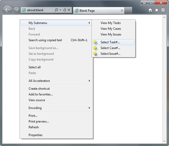 Custom items in an IE context menu