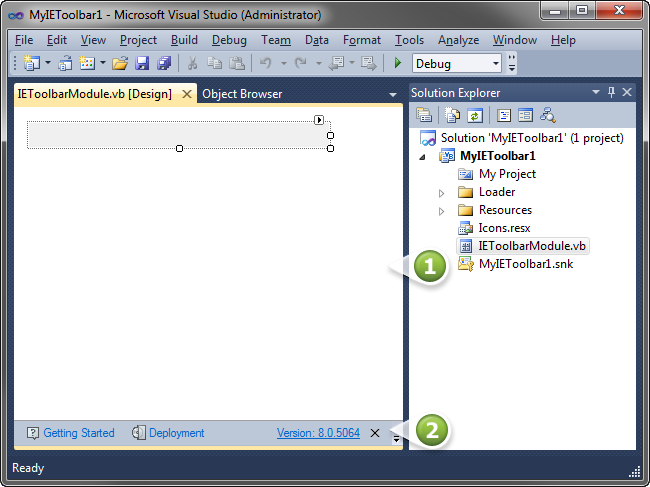IE Toolbar module designer and Help panel