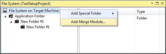 Adding a merge module to the setup project.