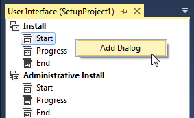 Open the User Interface Editor to add required dialogs.