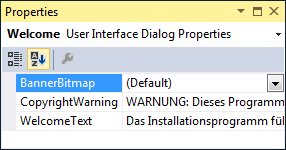 An example of the German localization of the Welcome UI dialog