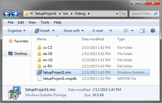 The folder structure of a multi-language setup project.