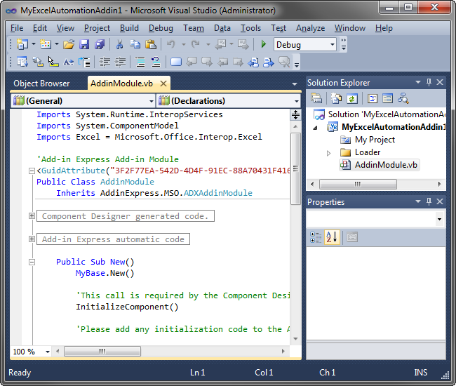 A new Excel Automation Add-in solution in Visual Studio