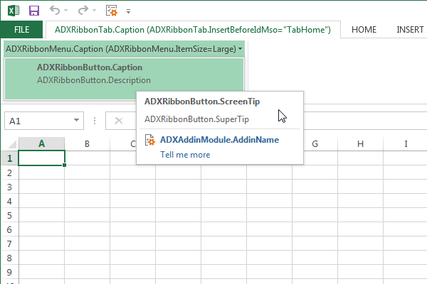 Add-in Express Ribbon tab components and their properites