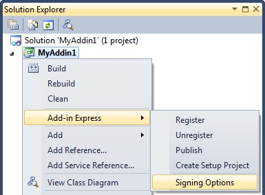Sign an Add-in Express based Office add-in project