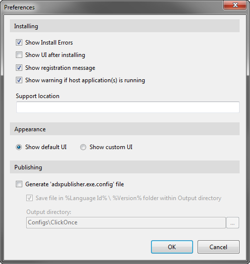 Configure the preferences for your ClickOnce installation