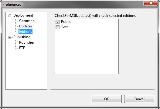 Preferences dialog. Editions
