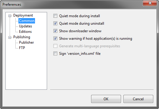 Preferences dialog. Common settings