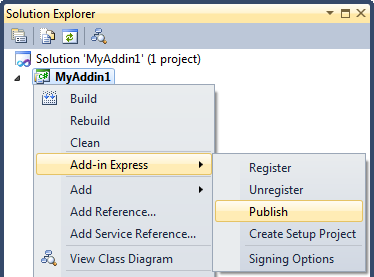 Publish the Add-in Express based Office add-in project