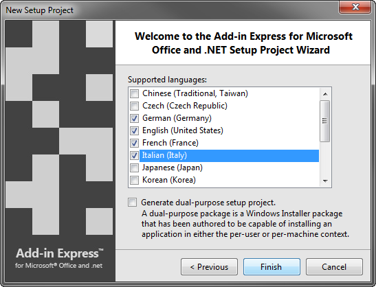 Choose languages to support by the WiX installer of your add-in