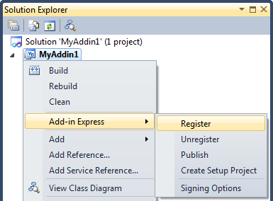 Register COM add-in from the IDE