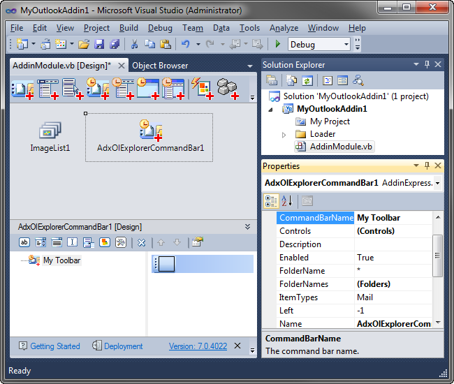 An Outlook Explorer CommandBar component on the add-in module